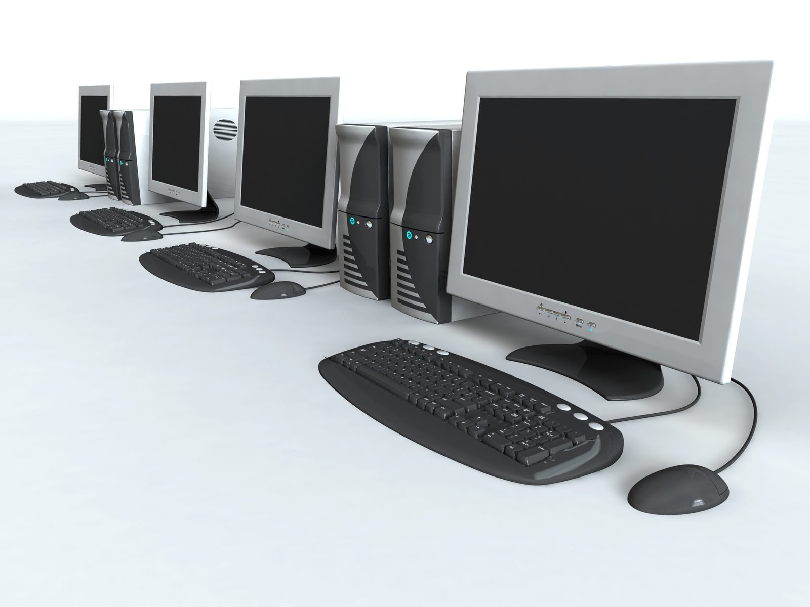 A series of computers in a lab. 3D rendering with raytraced textures and HDRI lighting.